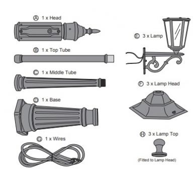 3 lempų lauko šviestuvas Elega 2