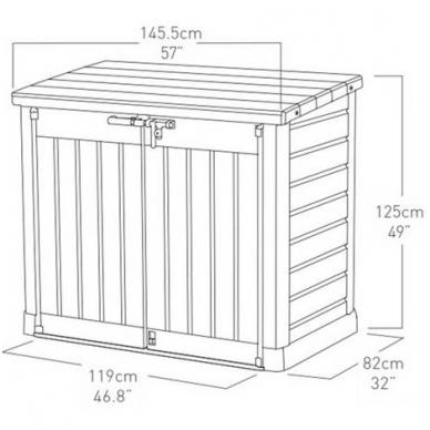 Rakinama plastikinė dėžė 1200L 2